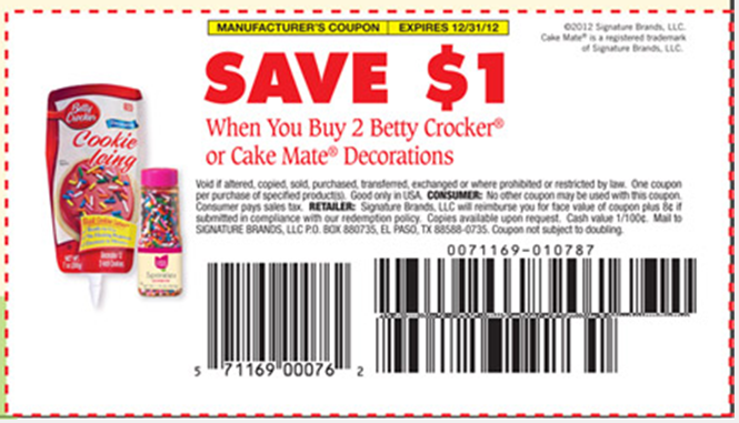 Cake Decorating Store Voucher Codes : ** SAVE THIS SUCKER ** PDF Coupon for USD1/2 Betty Crocker ...