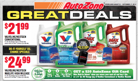 $4 01 MONEY MAKER on Valvoline Motor Oil at AutoZone with