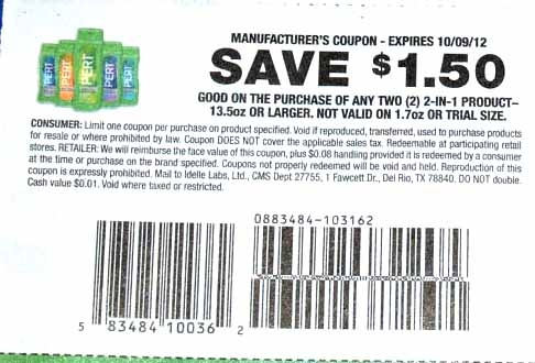 Shopping Tips for Pert Plus: 1. Many stores have the travel size Pert Plus 2-in-1 shampoos and conditioners for $1. You can use the $1 off coupon from your monthly SmartSource newspaper insert, or you can find a printable coupon on CouponCabin to get it for free.