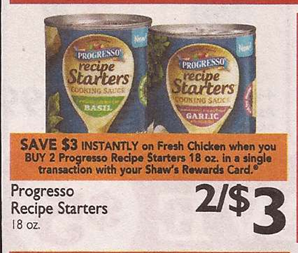 Grab some Progresso Recipe Starters for FREE at Kroger. The cans are part of the mega sale and we got a coupon in the inserts yesterday that makes them totally FREE (if your store doubles)! These would be perfect for a filler item when trying to get to your 10 item mega requirement.