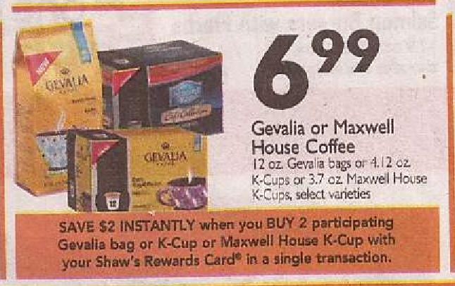 photo about Gevalia Printable Coupons named Gevalia Espresso Simply just $4.49 at Shaws with printable discount coupons