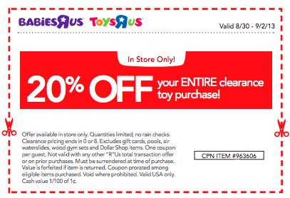 graphic about Printable Toysrus Coupons named WOW ** 20% OFF Toys R Us TOY CLEARANCE Printable Coupon