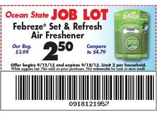 graphic about Ocean State Job Lot Coupons Printable named Febreze Preset and Refresh $1.50 at Ocean Country Process Good deal with