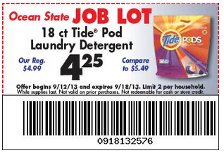image regarding Ocean State Job Lot Coupons Printable named Tide Pod 18 ct. $3.50 at Ocean Country Undertaking Great deal with Printables