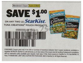 Nice Starkist Tuna Deal at Walmart. Pick up a couple pouches with this Starkist Tuna Deal at Walmart. I just posted about a deal at Target for these, but it's even better at Walmart! The Gourmet Selects are usually $ at Walmart but are on rollback for $1 each plus there's a 75 cent ibotta cash back offer and a $1/2 Starkist Tuna Pouch product coupon.