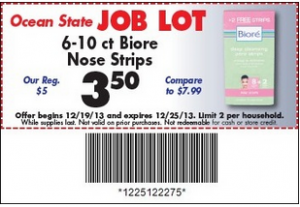 Biore Nose Strips $1.50 Ocean State Job Lot with Printable Coupon plus Store Coupon