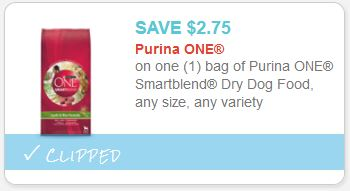 There's a high-value Buy 1 Get 1 FREE Purina ONE SmartBlend Dog Food Coupon that you can use to score a great deal on Dry Dog Food! Print now and head over to Walmart and Target to stock up on some inexpensive dog food – super easy coupon offers!