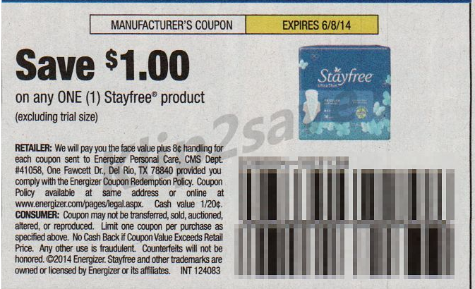 Stayfree pad coupons - Sweet wise nashville