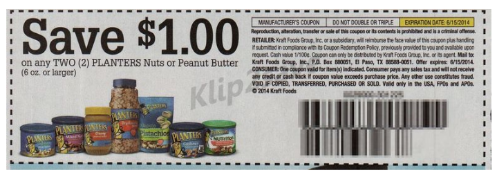 Buy (2) Planters Peanuts 16oz on sale at 2/$6 (Single purchase $3.49) use  (1) $1.00/2 Planters Nuts or Peanut Butter 16oz+ Insert Coupon SS 4/13(k2s ) - Planters Peanuts 16oz Only $2.50 At Walgreens Starting 6/1 With