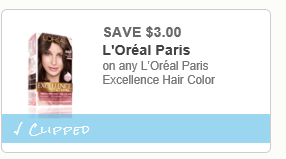 photo about Loreal Printable Coupon titled Loreal Excellence Hair Shade Basically $3.59 + Purchase 3,000pts At