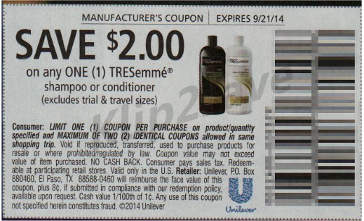 Tresemme shampoo coupons