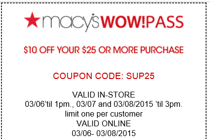 Macy's in store coupon 10 off 25