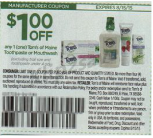 Tom's toothpaste coupons 2018