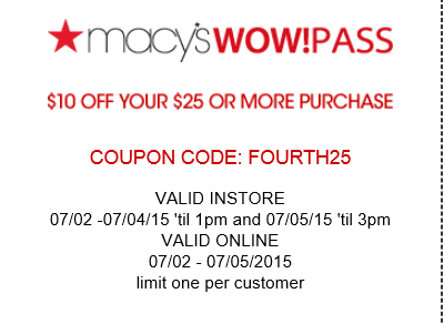Macy's coupon $10 off $25 purchase