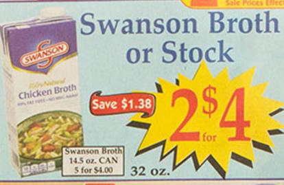 Market basket 11 15 11 28 swanson s broth carton 32 oz for Swanson s fish market