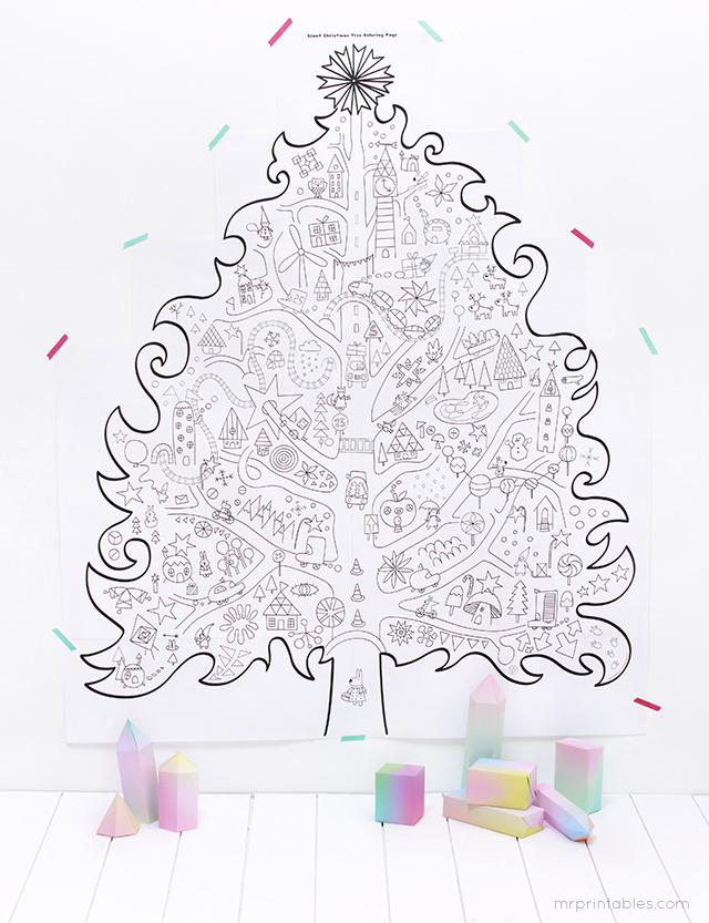 FREE Printable Giant Christmas Tree Coloring Page for Kids « Darlene ...