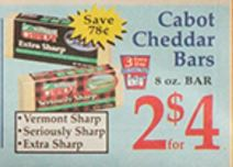 Market Basket 1 24 1 30 Cabot Cheddar Cheese Bars Only 1 50 With Printable Coupon Darlene Michaud