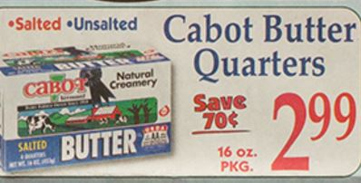 Market Basket 2 7 2 13 Cabot Butter 1 Lb Only 2 49 With Printable Coupon Darlene Michaud