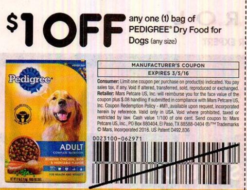 Pedigree pal dog food coupons