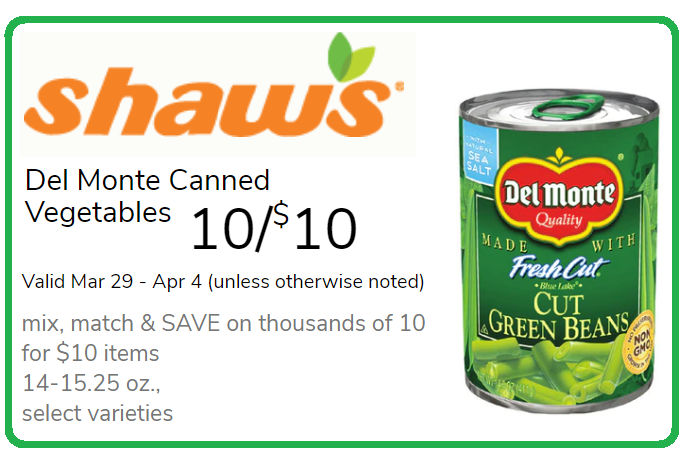 photo regarding Del Monte Printable Coupons named Del Monte Canned Vegetables Merely 75¢ at Shaws with Printable