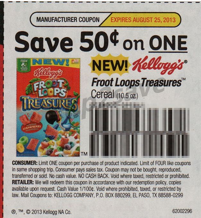 Hop on over to weatherlyp.gq where you can print this new $/1 Kellogg's Froot Loops Cereal oz+ coupon. This coupon has a limit of four per shopping trip and expires on 9/11/ This coupon has a limit of four per shopping trip and expires on 9/11/